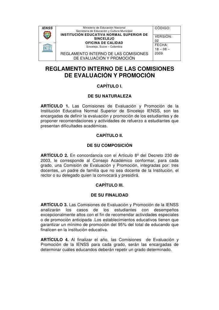 Reglamento interno de las comisiones de evaluaci n y for Oficina nacional de evaluacion