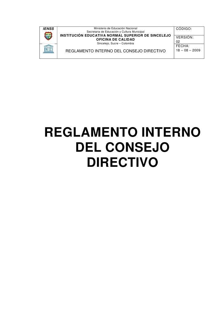 Reglamento Interno Del Consejo Directivo Ienss