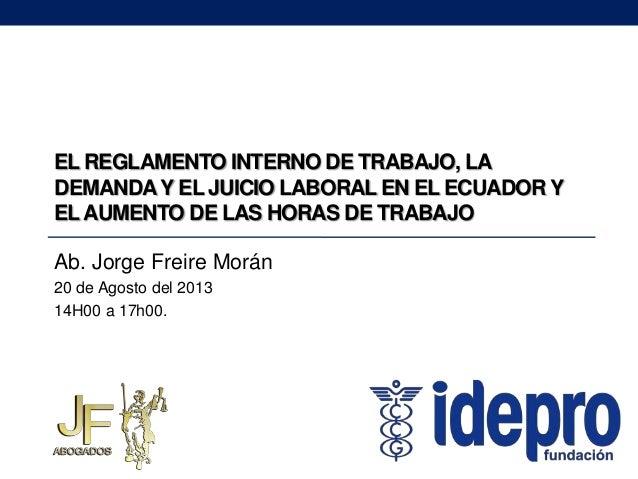 El reglamento interno de trabajo la demanda y el juicio for Consulta demanda de empleo