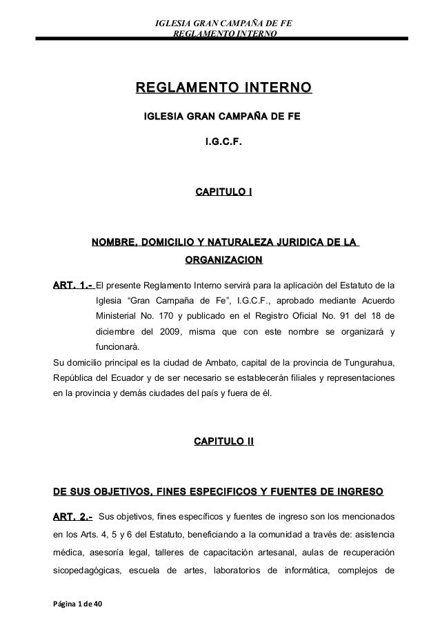 IGLESIA GRAN CAMPAÑA DE FE                              REGLAMENTO INTERNO                     REGLAMENTO INTERNO         ...