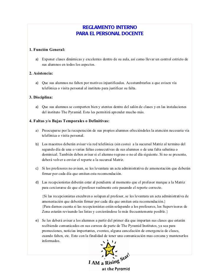 Reglamento interno personal docente for 5 reglas del salon de clases