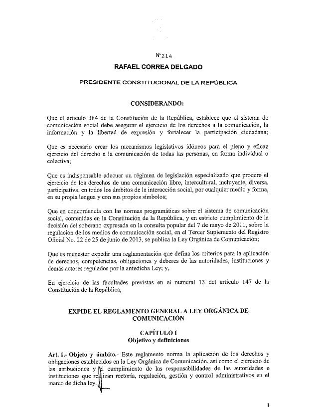 Reglamento ley de comunicación ecuador