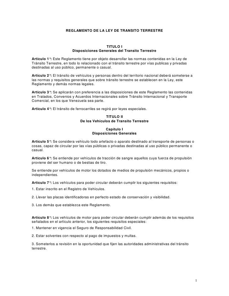 Reglamento Ley de Tránsito y Transporte Terrestre en Venezuela
