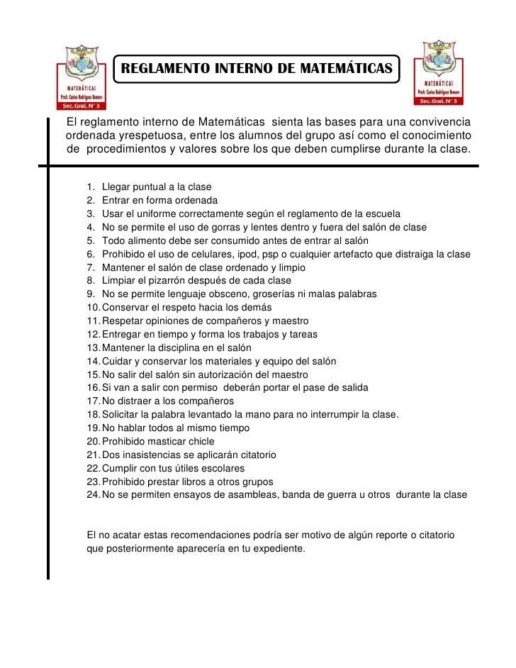 Reglamento matematicas for 10 reglas del salon de clases en ingles