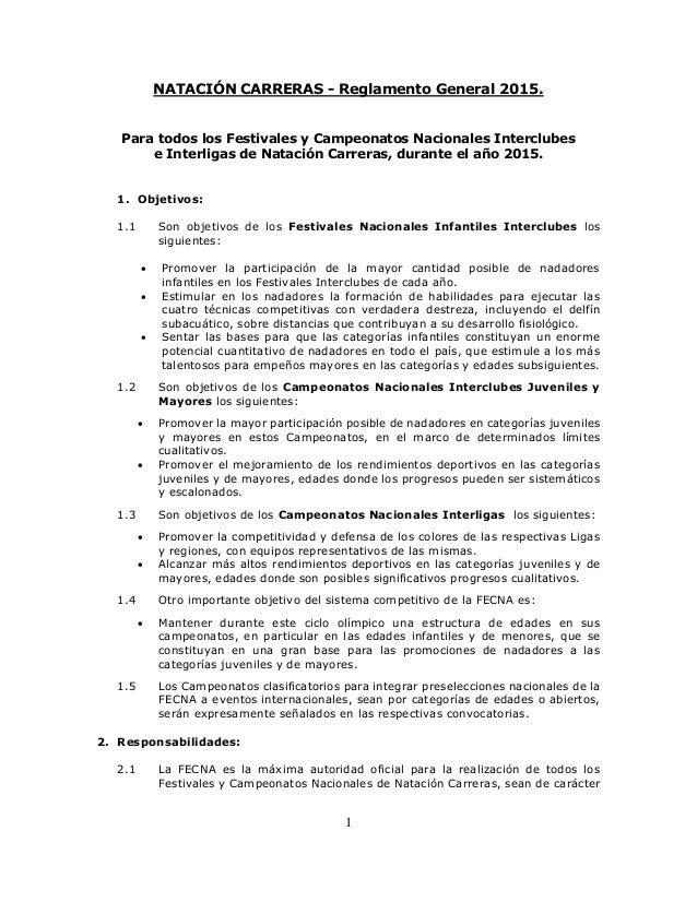 1 NATACIÓN CARRERAS - Reglamento General 2015. Para todos los Festivales y Campeonatos Nacionales Interclubes e Interligas...