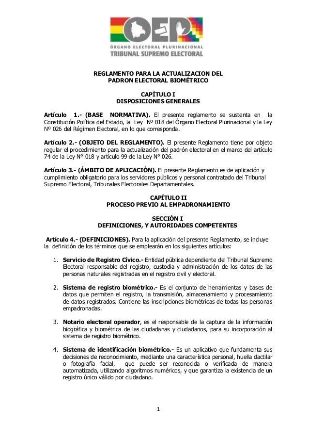 Reglamento para actualizacion del padron biometrico aprobado-modificado