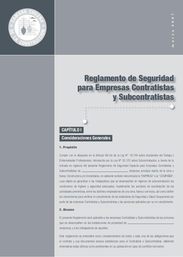 marzo2007  CAPÍTULO I..  Consideraciones Generales.. 1. Propósito Cumplir con lo dispuesto en el Artículo 66 bis de la L...