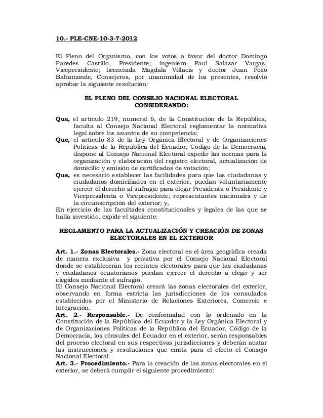 Reglamento para la actualización y creación de zonas electorales en el exterior