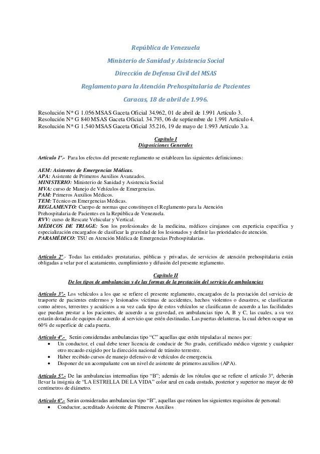 Reglamento para la medicina de atención prehospitalaria