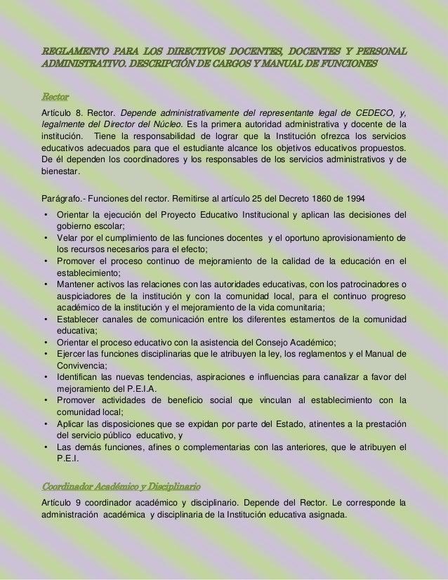 REGLAMENTO PARA LOS DIRECTIVOS DOCENTES, DOCENTES Y PERSONALADMINISTRATIVO. DESCRIPCIÓN DE CARGOS Y MANUAL DE FUNCIONESRec...
