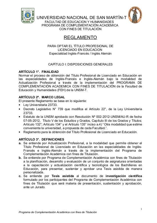 UNIVERSIDAD NACIONAL DE SAN MARTÍN-T FACULTAD DE EDUCACION Y HUMANIDADES PROGRAMA DE COMPLEMENTACIÓN ACADEMICA CON FINES D...