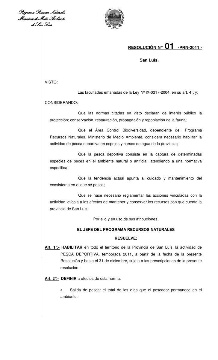 Programa Recursos NaturalesMinisterio de Medio Ambiente        de San Luis                                                ...