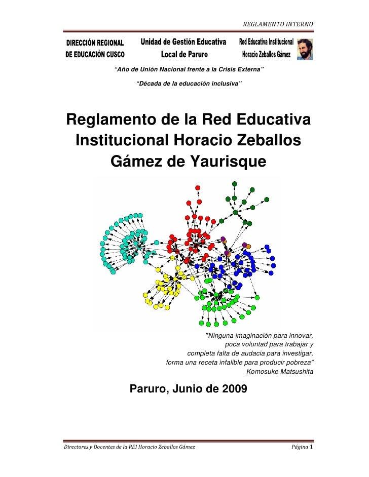 Reglamento Red Educativa Horacio Zeballos Gamez
