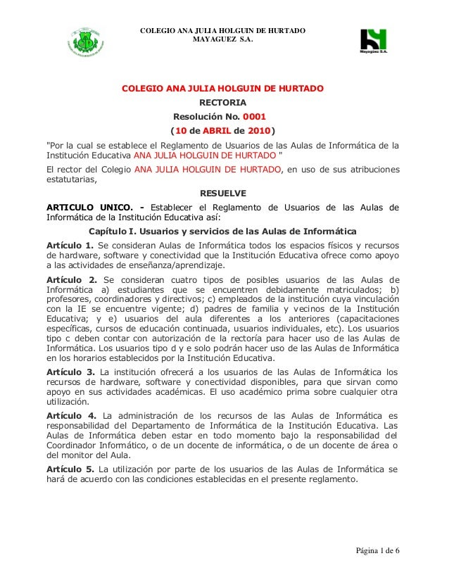 COLEGIO ANA JULIA HOLGUIN DE HURTADO           MAYAGUEZ S.A.                                       Página 1 de 6