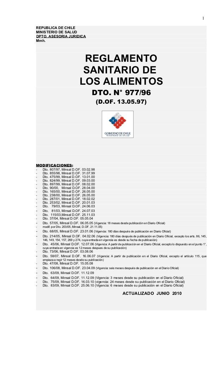 1REPUBLICA DE CHILEMINISTERIO DE SALUDDPTO. ASESORIA JURIDICAMmh.                                 REGLAMENTO              ...