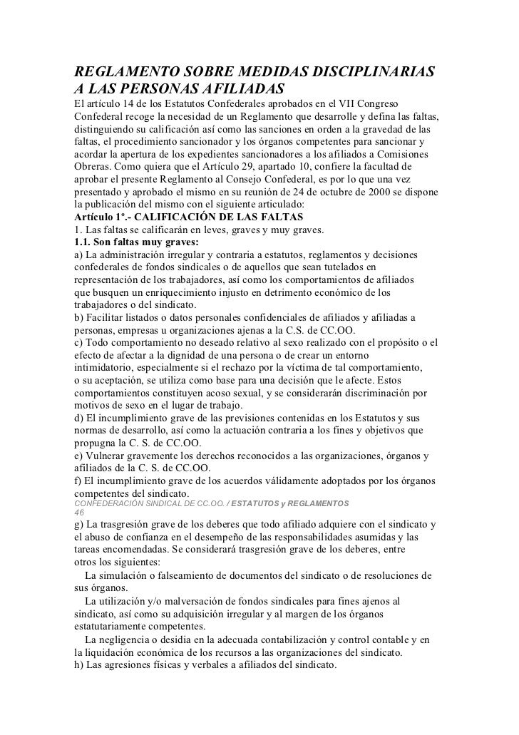 REGLAMENTO SOBRE MEDIDAS DISCIPLINARIASA LAS PERSONAS AFILIADASEl artículo 14 de los Estatutos Confederales aprobados en e...