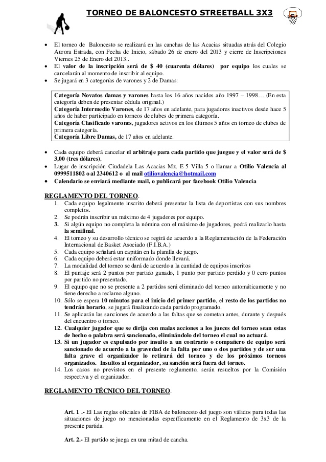 REGLAMENTO TORNEO 3X3 STREETBALL
