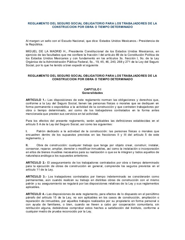 REGLAMENTO DEL SEGURO SOCIAL OBLIGATORIO PARA LOS TRABAJADORES DE LA             CONSTRUCCION POR OBRA O TIEMPO DETERMINAD...