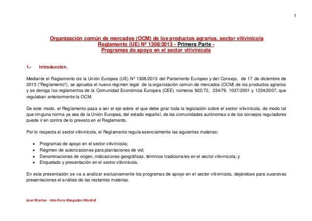 Reglamento UE 1308/2013 programas de apoyo en el sector vitivinícola presentación
