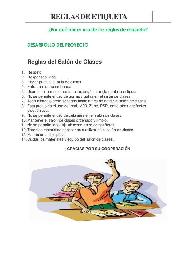Reglas de etiqueta for 5 reglas del salon de clases