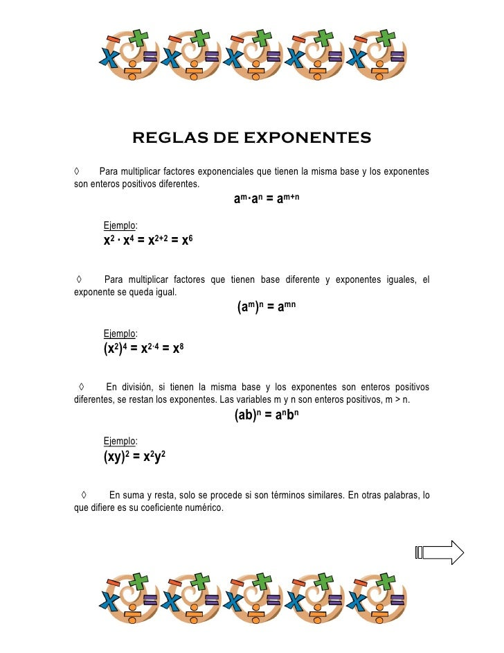 REGLAS DE EXPONENTES◊     Para multiplicar factores exponenciales que tienen la misma base y los exponentesson enteros pos...