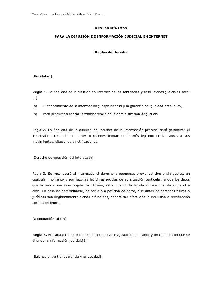 TEORÍA GENERAL DEL PROCESO – DR. LUCIO MIGUEL VIETTI COLOMÉ                                                        REGLAS ...