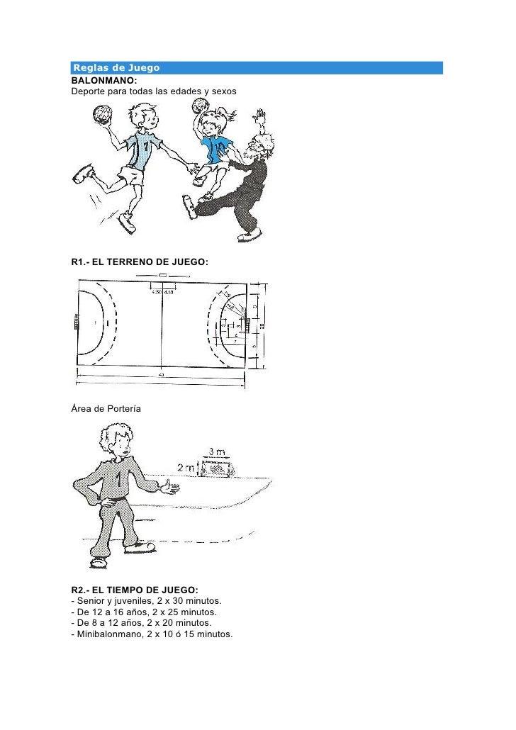 Reglas de JuegoBALONMANO:Deporte para todas las edades y sexosR1.- EL TERRENO DE JUEGO:Área de PorteríaR2.- EL TIEMPO DE J...