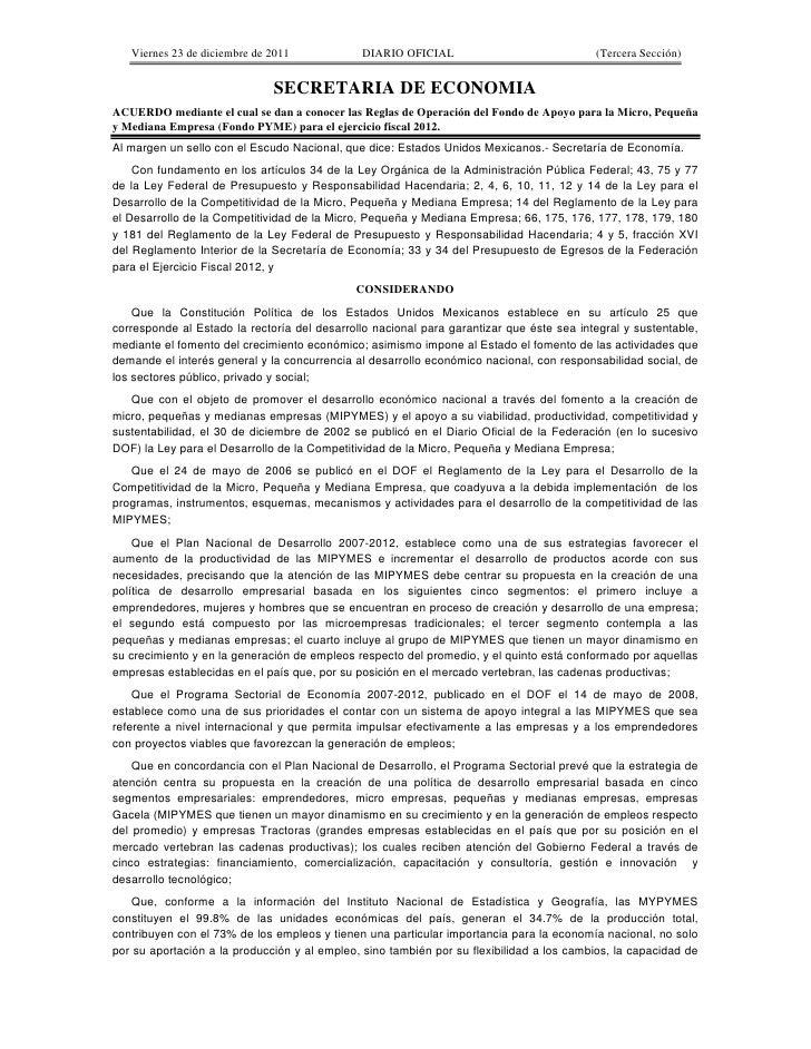 Reglas de operación de fondo pyme 2012