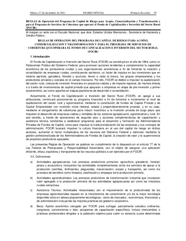 Martes 27 de diciembre de 2011              DIARIO OFICIAL                         (Primera Sección)   39REGLAS de Operaci...