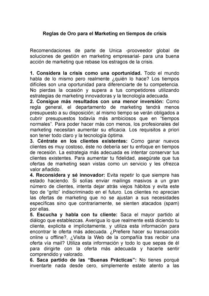 Reglas de Oro para el Marketing en tiempos de crisis   Recomendaciones de parte de Unica -prooveedor global de soluciones ...
