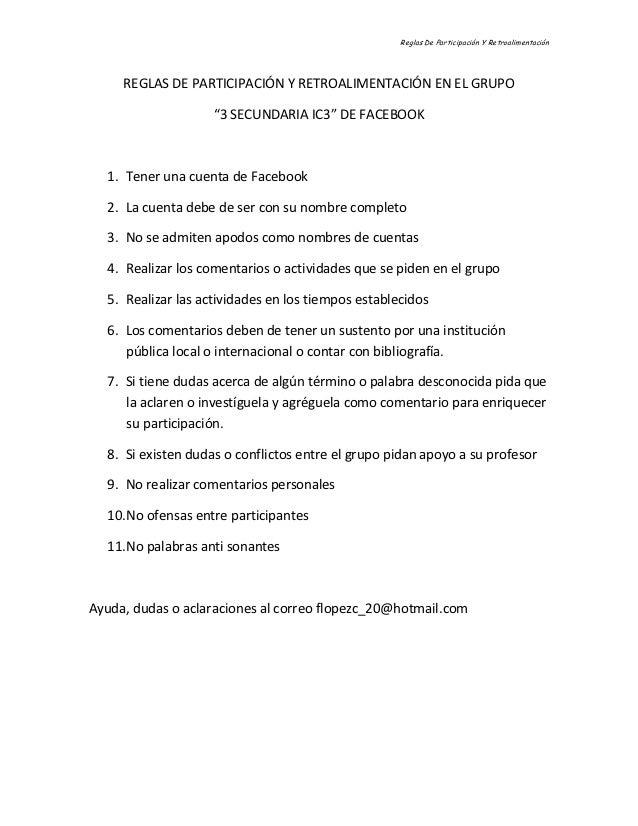 Reglas De Participación Y Retroalimentación     REGLAS DE PARTICIPACIÓN Y RETROALIMENTACIÓN EN EL GRUPO                   ...