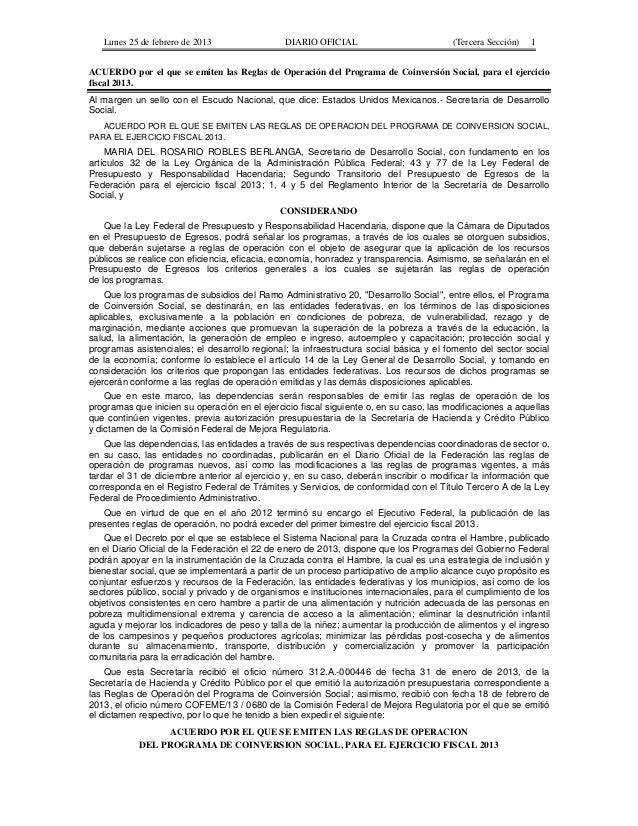 Reglas de Operación de Coinversión Social 2013