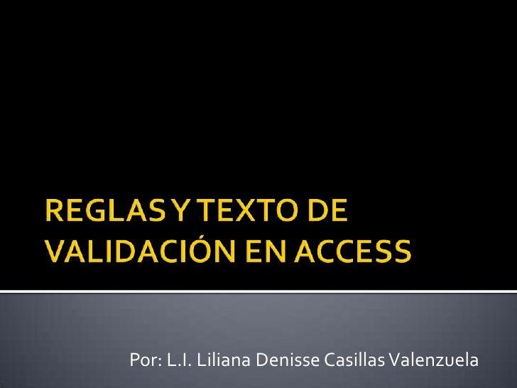 Reglas y texto de validación en access