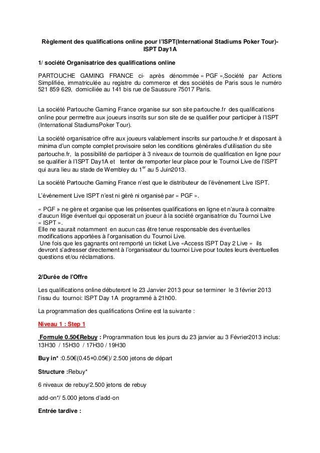 Règlement des qualifications online pour l'ISPT(International Stadiums Poker Tour)-                                    ISP...