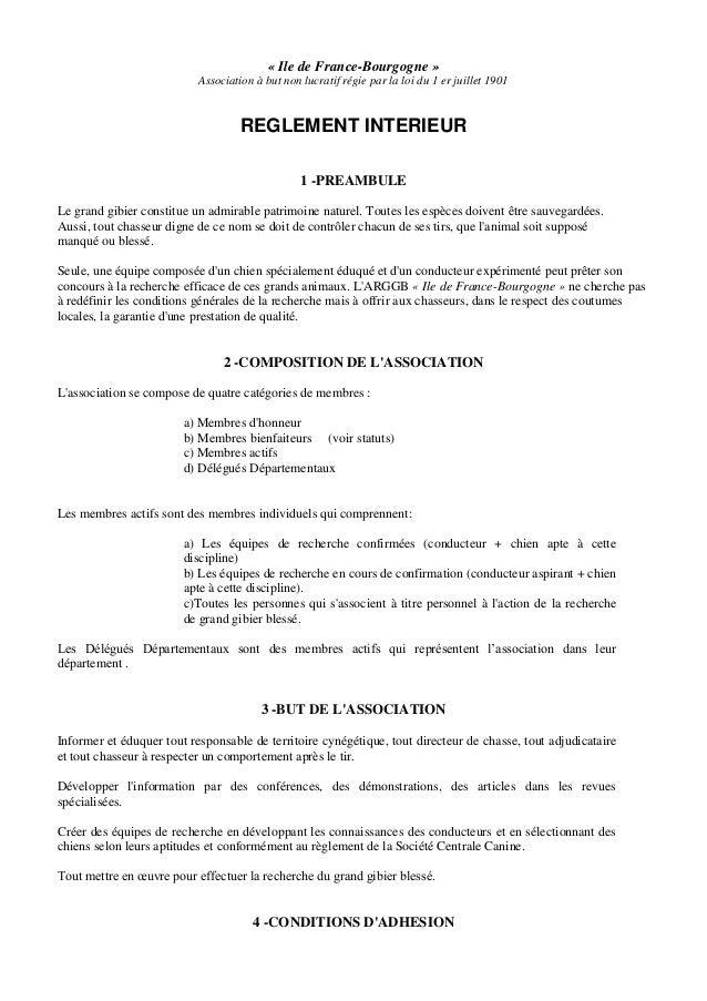 « Ile de France-Bourgogne » Association à but non lucratif régie par la loi du 1 er juillet 1901 REGLEMENT INTERIEUR 1 -PR...