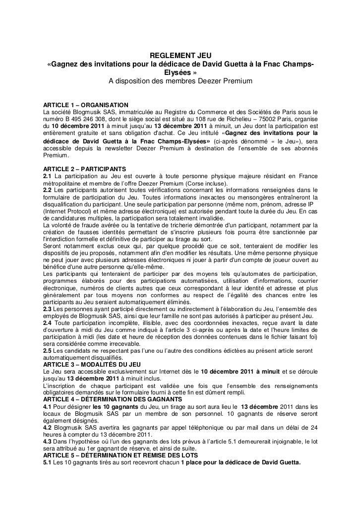 REGLEMENT JEU «Gagnez des invitations pour la dédicace de David Guetta à la Fnac Champs-                                  ...