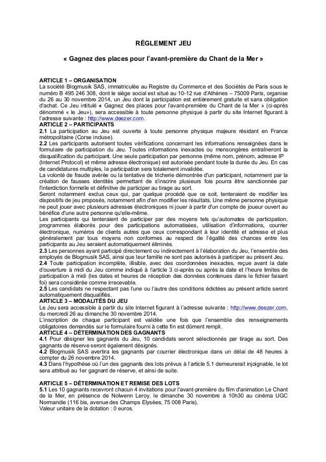 RÉGLEMENT JEU  « Gagnez des places pour l'avant-première du Chant de la Mer »  ARTICLE 1 – ORGANISATION  La société Blogmu...