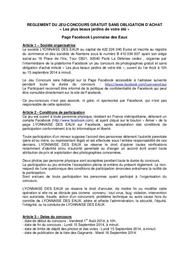 REGLEMENT DU JEU-CONCOURS GRATUIT SANS OBLIGATION D'ACHAT « Les plus beaux jardins de votre été » Page Facebook Lyonnaise ...