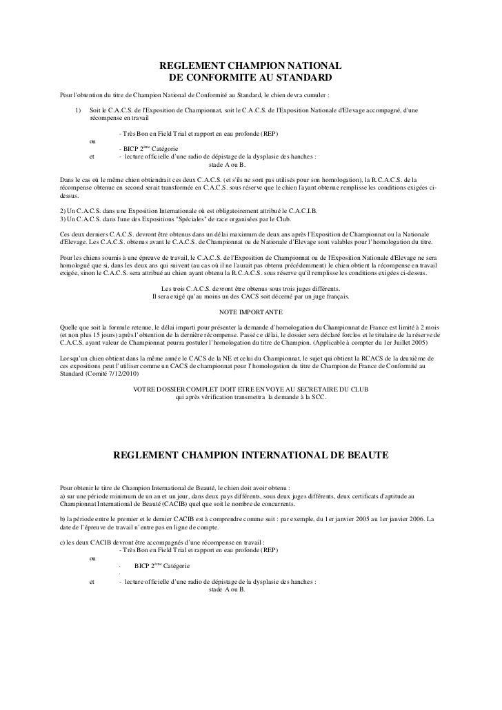 REGLEMENT CHAMPION NATIONAL                                       DE CONFORMITE AU STANDARDPour lobtention du titre de Cha...