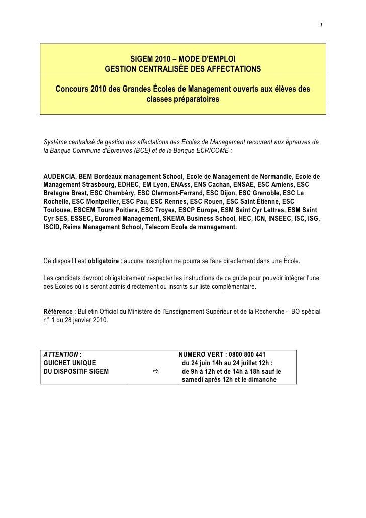 1                                  SIGEM 2010 – MODE D'EMPLOI                        GESTION CENTRALISÉE DES AFFECTATIONS ...