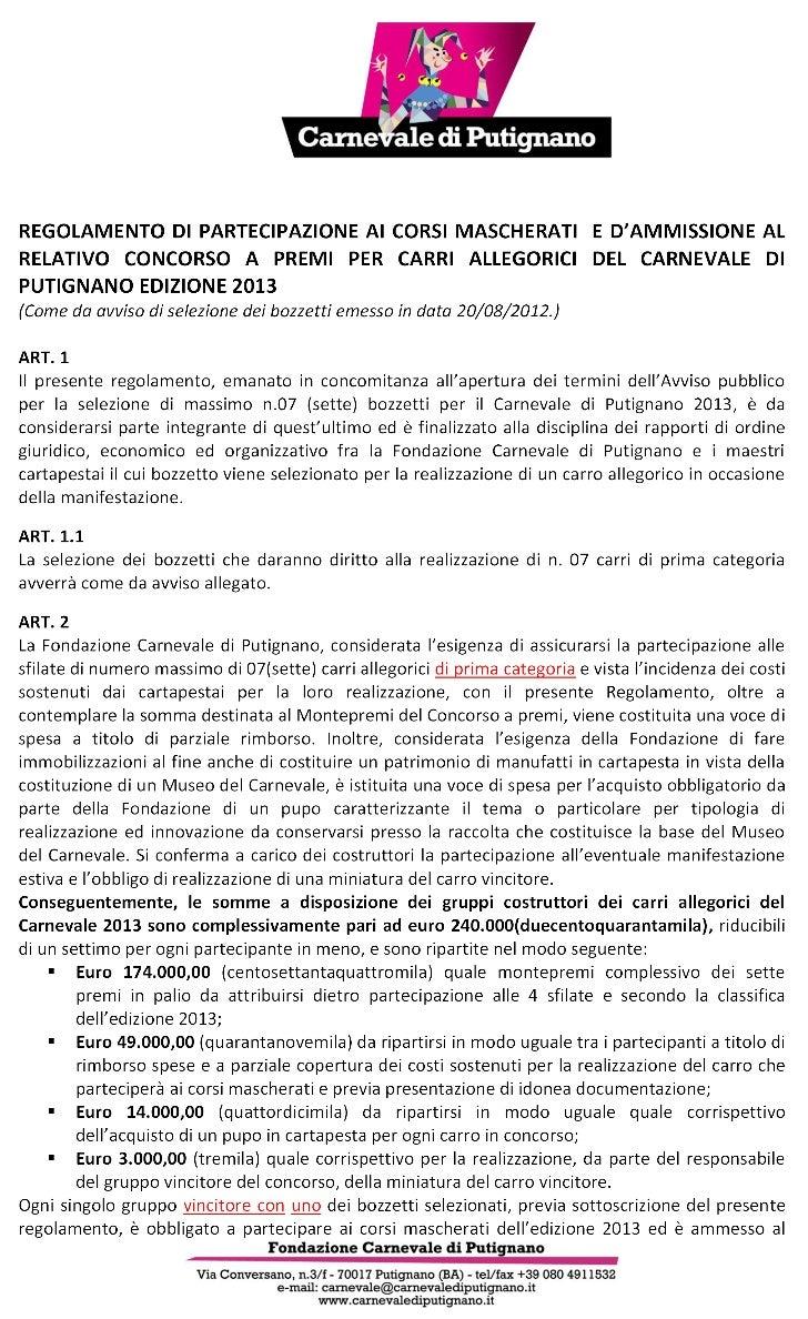 Regolamento carri 2013