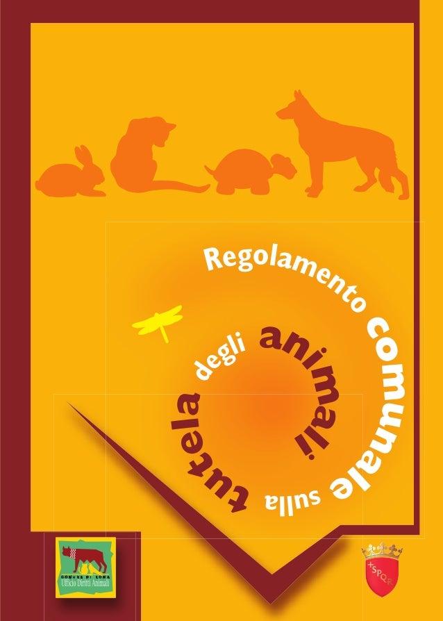 Animali - Regolamento comunale sulla tutela degli animali - Roma