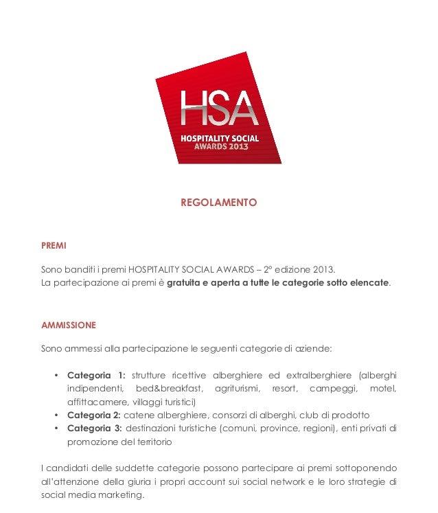 Regolamento Hospitality Social Awards 2013