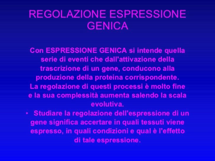Regolazione espressione 01.02.2010
