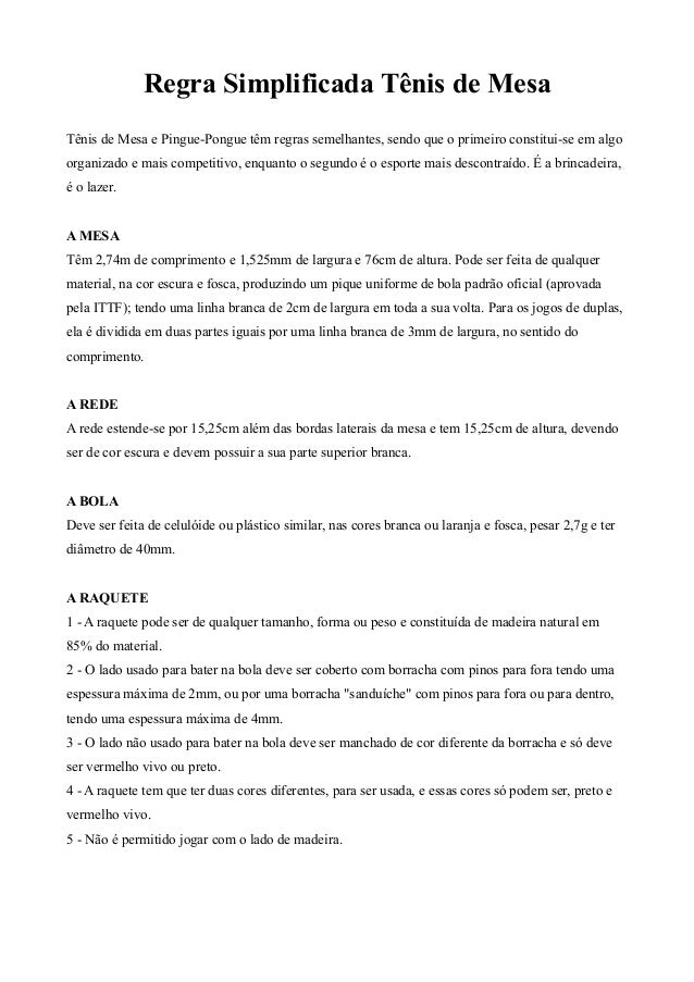 Regra Simplificada Tênis de Mesa Tênis de Mesa e Pingue-Pongue têm regras semelhantes, sendo que o primeiro constitui-se e...