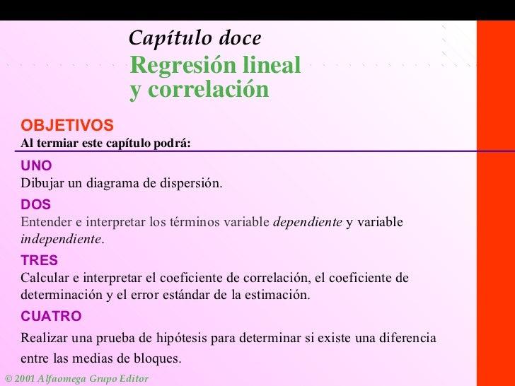 1-1 Capítulo doce Regresión lineal  y correlación OBJETIVOS Al termiar este capítulo podrá: UNO Dibujar un diagrama de dis...