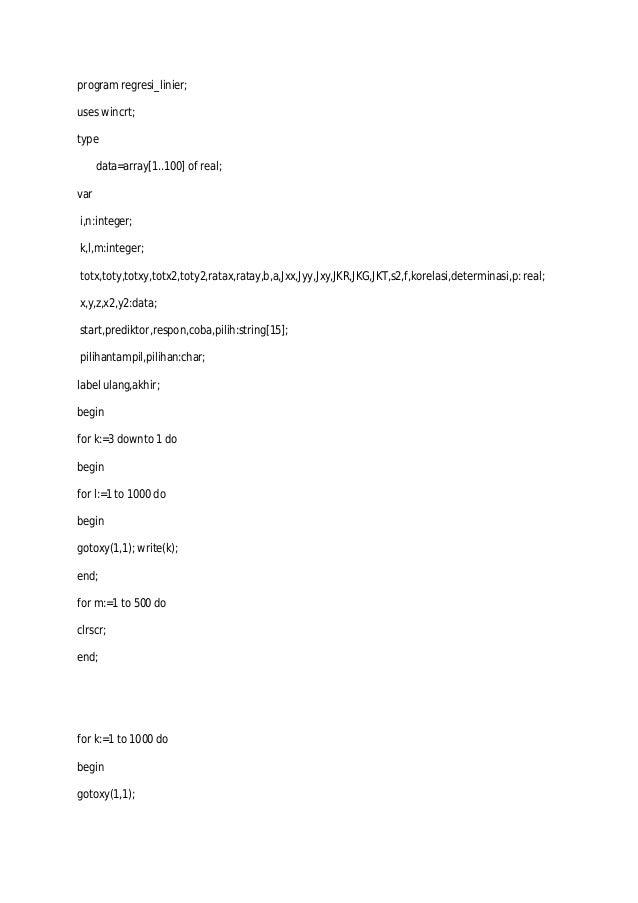 Program Pascal Regresi Linier Sederhana