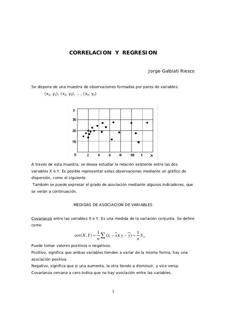 CORRELACION Y REGRESION                                                                             Jorge Galbiati RiescoS...