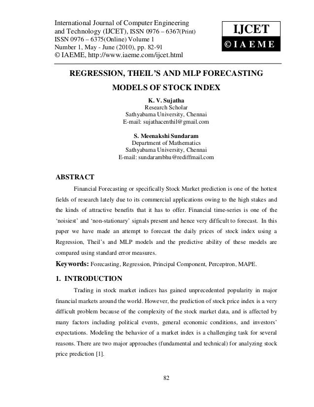 Regression, theil's and mlp forecasting models of stock index