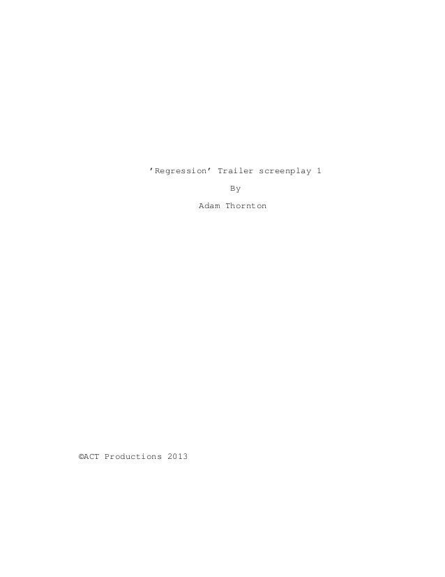 'Regression' trailer screenplay 1